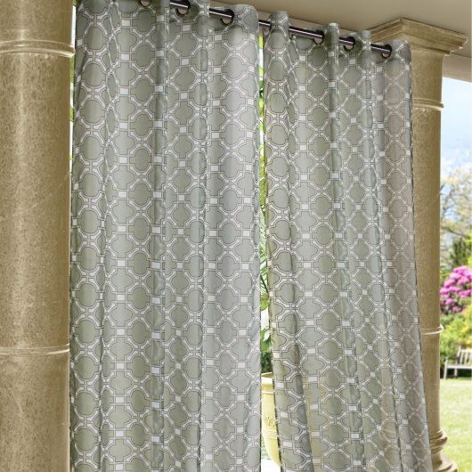 Gray Wrought Iron Polyester Outdoor Curtain