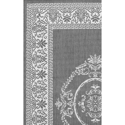 Recife Antq Medallion Gray/White Outdoor Rug (2 ft x 3 ft 7 in)
