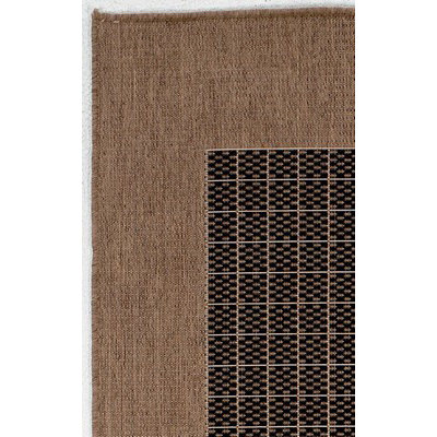 Recife Checkered Field Black/Cocoa Outdoor Rug (1ft 8in x 3ft 7in)