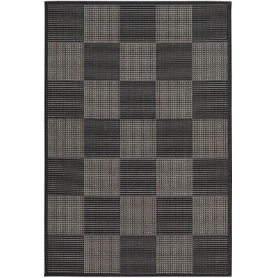Tides Concord Black/Grey Outdoor Rug (2ft x 3ft 7in)