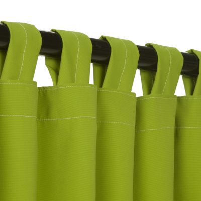 Sunbrella Canvas Macaw Green Outdoor Curtain with Tabs