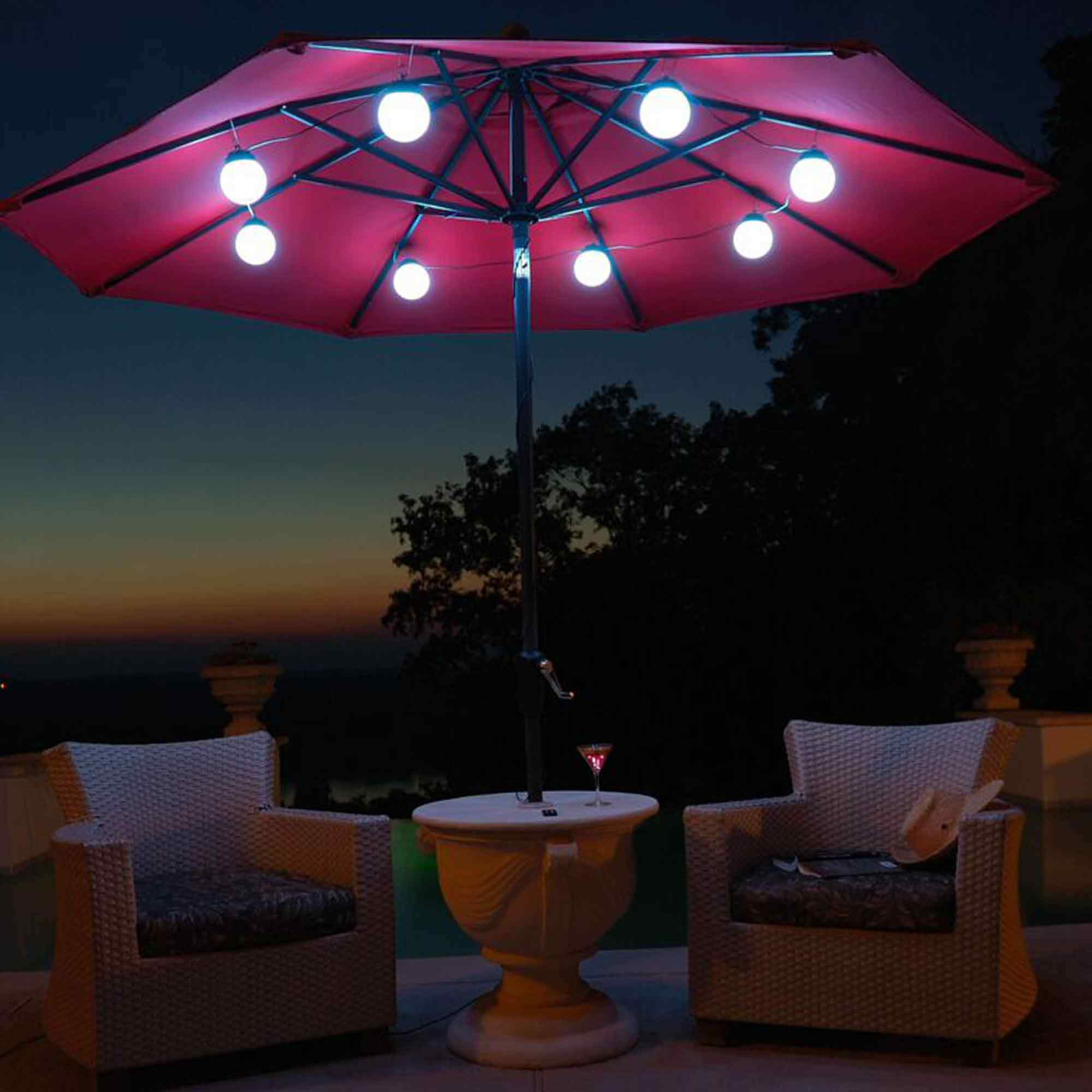 String Lights On Umbrella : 8 Globe BrighTable WHTable LED SOLAR UMB LighTables DFOHome