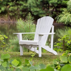 Exclusive Fan Back Wood Adirondack Chair - Painted White