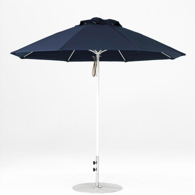 9 Ft. Pulley Lift Fiberglass Market Umbrella with White Pole