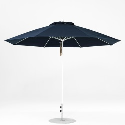 11 Ft. Pulley Lift Fiberglass Market Umbrella with White Pole