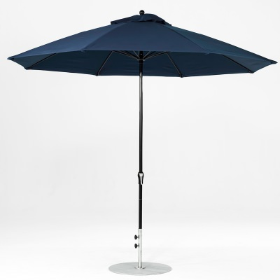 11 Ft. Crank Lift Fiberglass Market Umbrella with Black Pole
