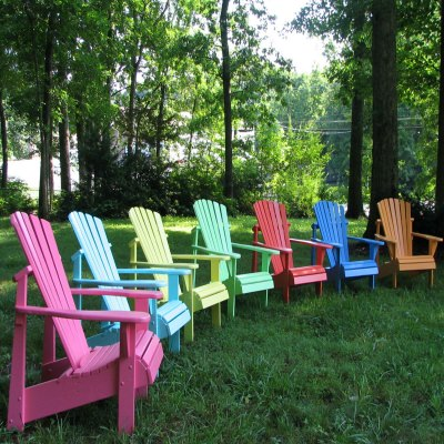 Pair of Painted Adirondack Chairs