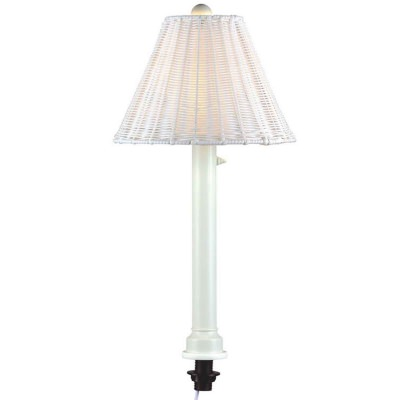Umbrella Table Lamp White Frame and White Wicker Shade