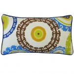 12in x 20in Green Button Outdoor Pillow