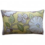 12in x 20in Chartreuse Floral Outdoor Throw Pillow