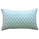 12in x 20in Teal Geofish Outdoor Throw Pillow