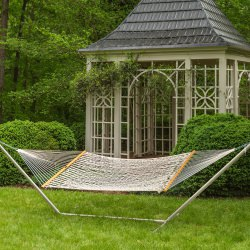 Large Original Cotton Rope Hammock with Metal Hammock Stand in Taupe