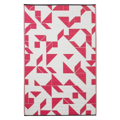 Santa Cruz Beetroot and White Recycled Indoor/Outdoor Mat