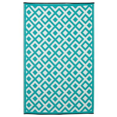 Marina Indigo and Bright White Recycled Indoor/Outdoor Mat