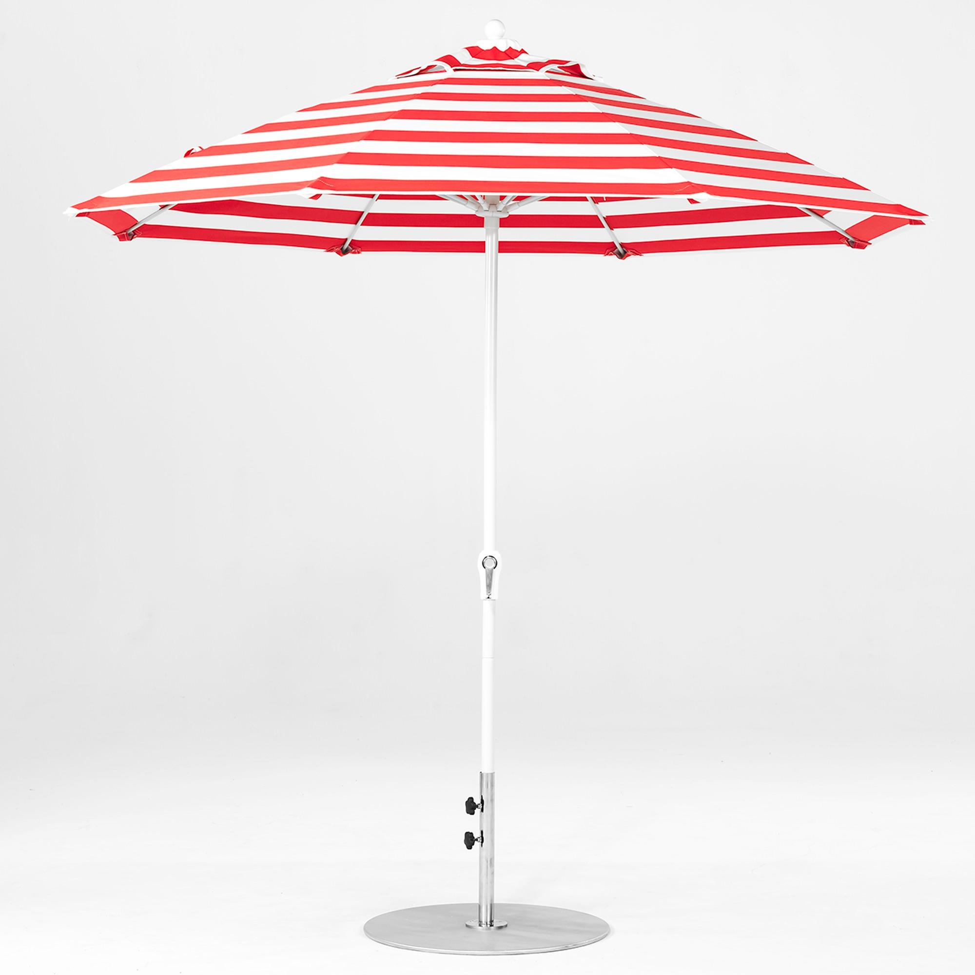 9 Ft Crank Lift Fiberglass Market Umbrella With White