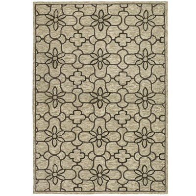 Fresco Summer Daisy Sand/Chocolate Outdoor Rug (2ft x 4ft)