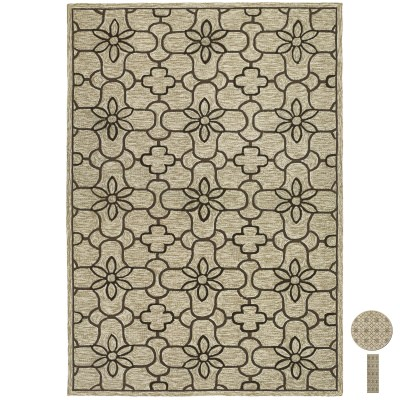 Fresco Summer Daisy Sand/Chocolate Outdoor Rug