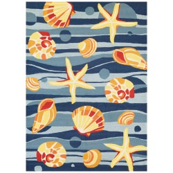 Beachfront Gold Beach Rug Azure/Navy/Citrus