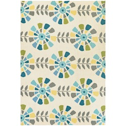 Beachfront Flower Blooms Rug Multi/Ivory