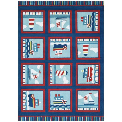 Beachfront Waldport Rug Navy/Red/Ivory 2ft. x 4ft.