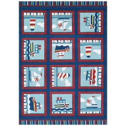 Beachfront Waldport Rug Navy/Red/Ivory