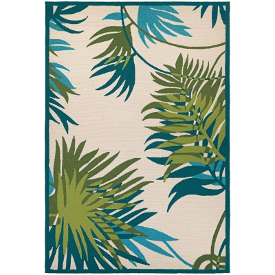 Covington Jungle Leaves Rug  Ivory/Forest Green 2 Ft. x 4 Ft.