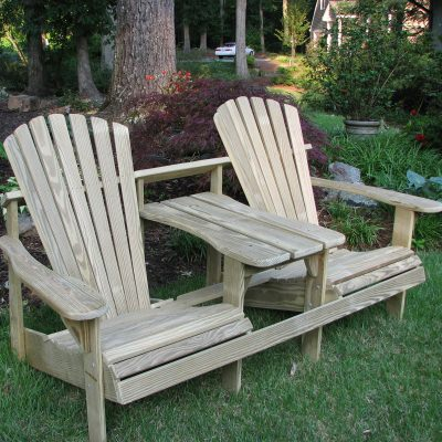 Adirondack Double Seater with Tete-a-Tete - Natural