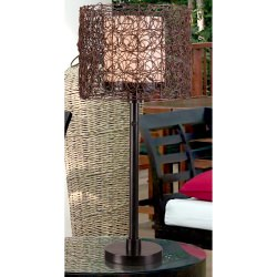 Tanglewood 28 Inch Outdoor Table Lamp with Wicker