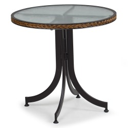 Resin Wicker Bistro Table with Glass Top