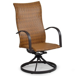 Resin Wicker High Back Swivel Rocker Dining Chair