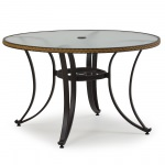 48 in Resin Wicker Dining Table with Glass Top