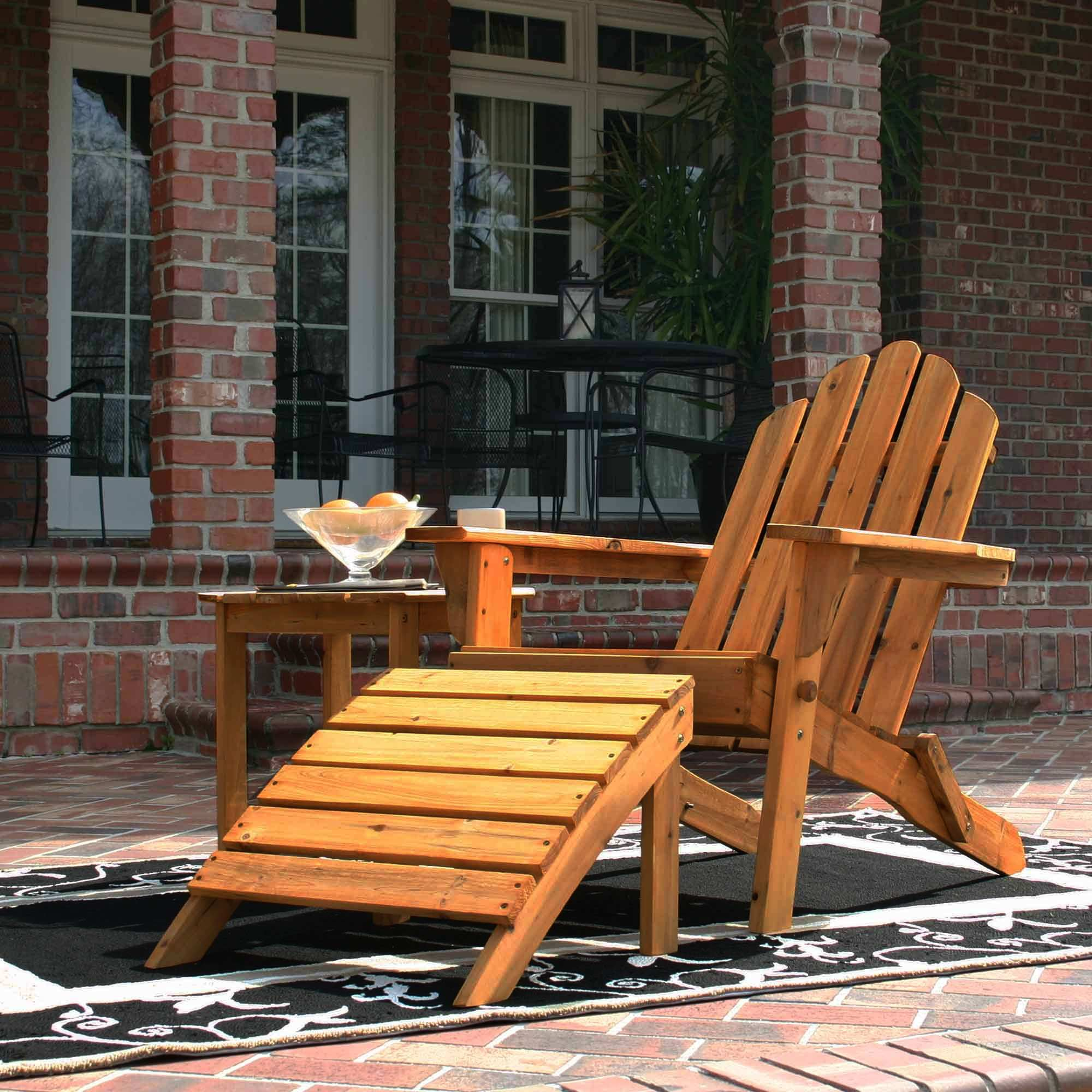 Exclusive Folding Wood Adirondack Chair Honey Gold Stained