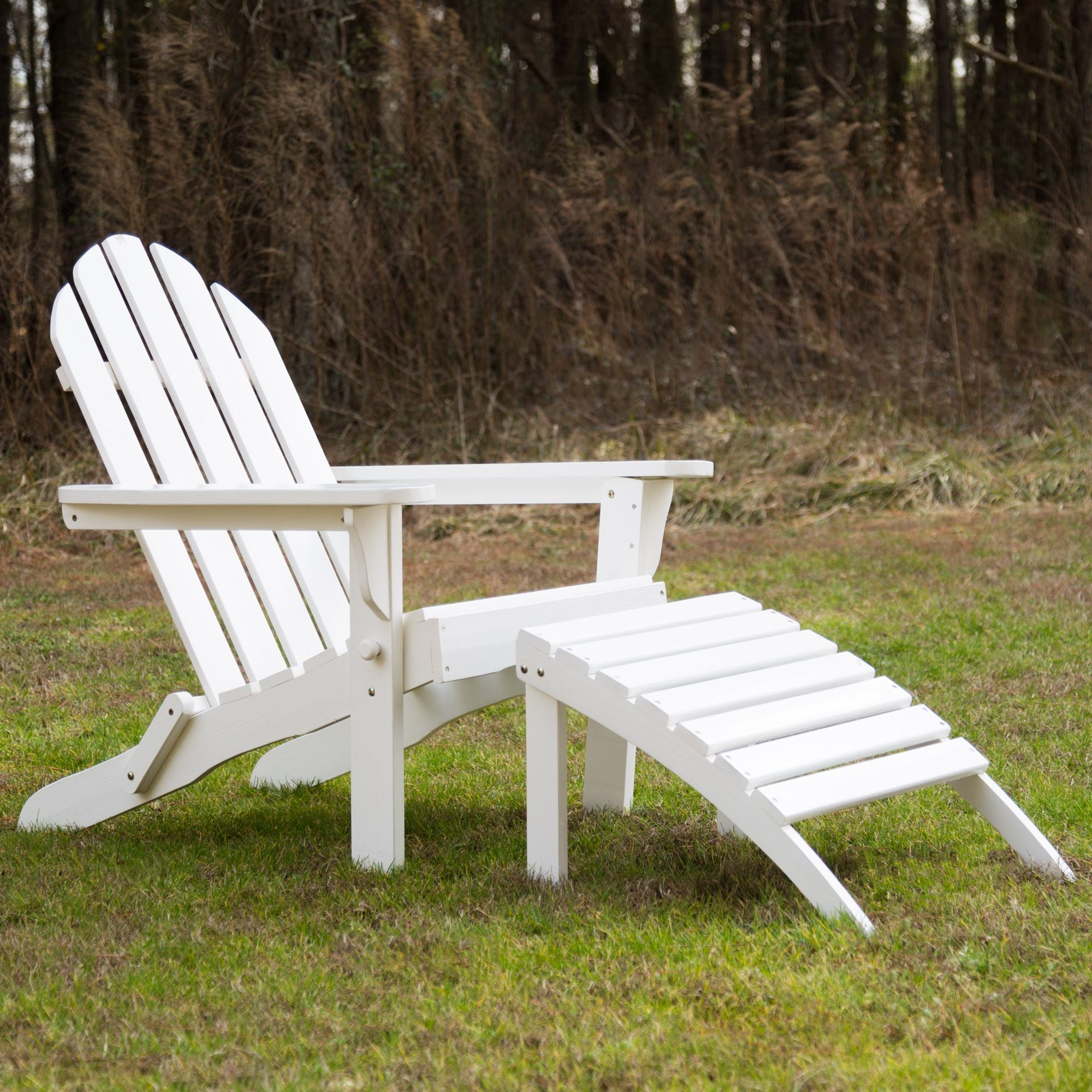 Exclusive Folding Wood Adirondack Chair Painted White Essentials