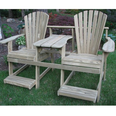 Adirondack Balcony/Pub Double Seater with Tete-a-Tete - Natural