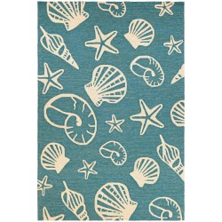 Outdoor Escape Cardita Shells Rug  Turquoise/Ivory
