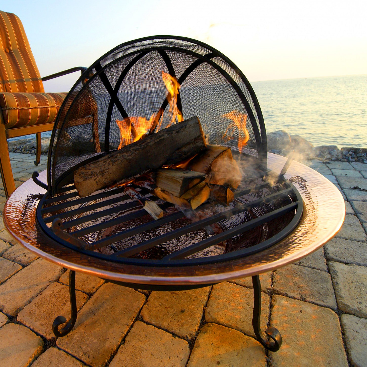 Good Directions 36 Inch Large Polished Copper Fire Pit