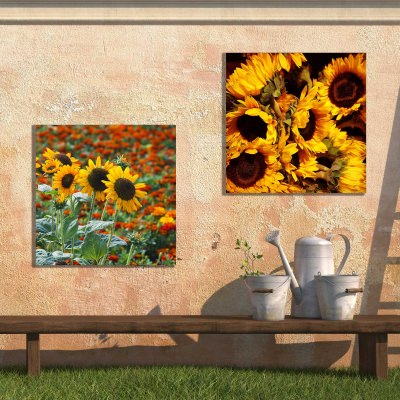 Rustic Sunflowers Outdoor Wall Art Piece