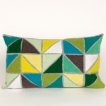 Lime Triangles Outdoor Pillow