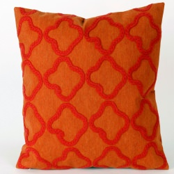 Crochet Tile Orange Outdoor Pillow