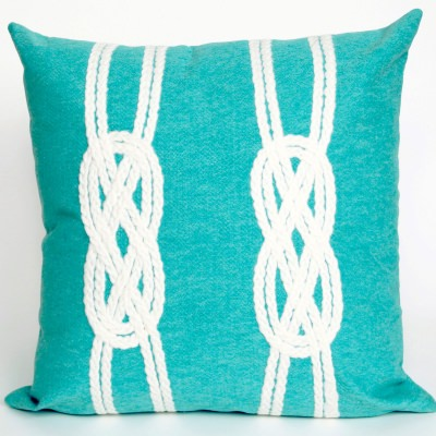 Double Knot Aqua Outdoor Pillow