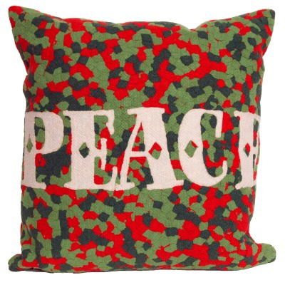 Peace Red Holiday Outdoor Pillow
