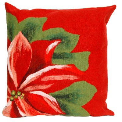 Red Poinsettias Holiday Outdoor Pillow