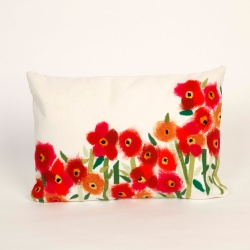 Poppies Red Outdoor Pillow