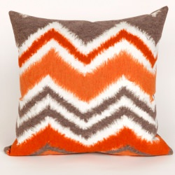 Zigzag Chevron Ikat Orange Outdoor Pillow