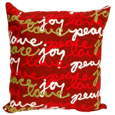Peace Love Joy Holiday Outdoor Pillow