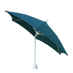 7.5 Ft Crank Lift Terrace Umbrella with White Pole and Push Button Tilt