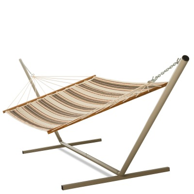 Large 2 Person Soft Polyester Brown and Orange Stripe Quilted Hammock with Stand