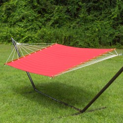 Large 2 Person Soft Polyester Red Quilted Hammock with Stand
