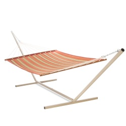 Large 2 Person Beige and Red Stripe Soft Polyester Quilted Hammock with Stand