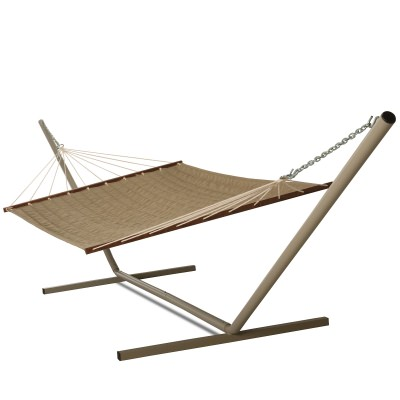 Large 2 Person Sunbrella Teak Quilted Hammock with Stand